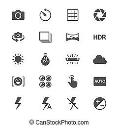 plano, fotografía, iconos