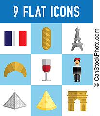 plano, francés, iconos