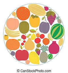 plano, fruta, iconos, reunido, en, un, circle.