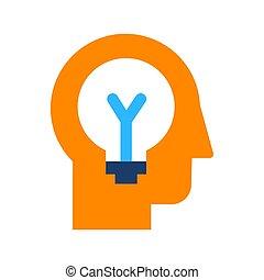 plano, generación, idea, icono, poniendo común, vector