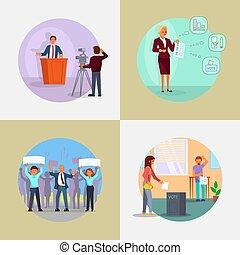 plano, gente, proceso, implicado, ilustración, vector, elección