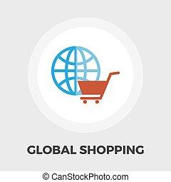 plano, global, compras, icono