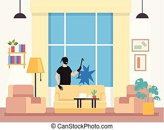 plano, gráfico, ladrón, conseguir, casa, house., ladrón, ilustración, roto, ventana, vector, diseño, hogar, hombre, caricatura, carácter