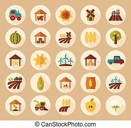plano, granja, largo, campo, sombra, icono
