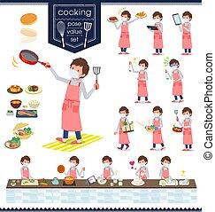 plano, gris, máscara, tipo, foodie, men_cooking