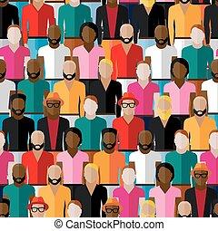 plano, grupo, patrón, seamless, grande, men., vector, tipos