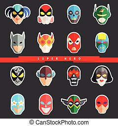plano, héroe, character., icons., mascarillas, superhero, ...