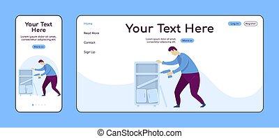 plano, handyperson, adaptable, taladro, ui., muebles, reparador, pc, layout., reparaciones, plataforma, uno, sitio web, el montar, móvil, página web, página, template., diseño, página principal, vector, aterrizaje, hogar, color cruz