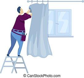 plano, handyperson, aislado, improvement., curtains., reparaciones, character., ventana, caricatura, drapery., decorating., interior, ahorcadura, casa, vector, faceless, ilustración, hombre, color de casa, tipo