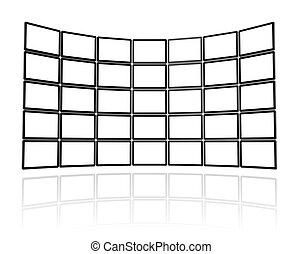 plano, hecho, pared, pantallas, televisión, vídeo