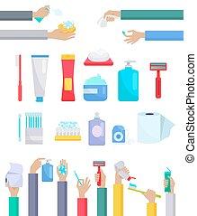 plano, higiene, diseño, accesorios, artículos