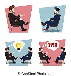 plano, hombre de negocios, sentado