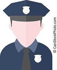 plano, icono, -, avatar, policía