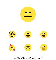 plano, icono, cara, conjunto, de, tiempo de la fiesta, emoticon, descontentado, silencio, y, otro, vector, objects., también, incluye, agradable, sonrisa, descontentado, elements.