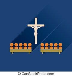 plano, icono, con, largo, sombra, las personas presente, iglesia
