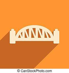 plano, icono, con, largo, sombra, puente de puerto de sydney