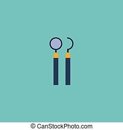 plano, icono, espejo, con, tienta, element., vector, ilustración, de, plano, icono, equipo, aislado, en, limpio, fondo., lata, ser, utilizado, como, dentista, tienta, y, espejo, symbols.
