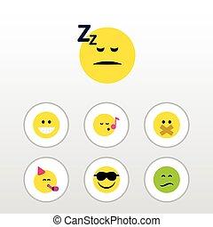 plano, icono, expresión, conjunto, de, dormido, descant, tiempo de la fiesta, emoticon, y, otro, vector, objects., también, incluye, silencio, emoji, silencioso, elements.