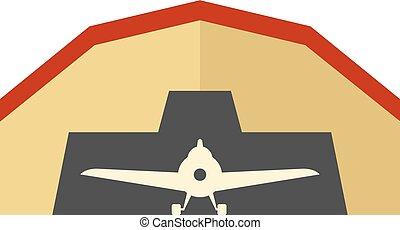 plano, icono, -, hangar de avión