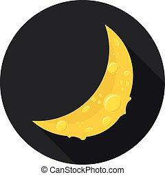 plano, icono, luna