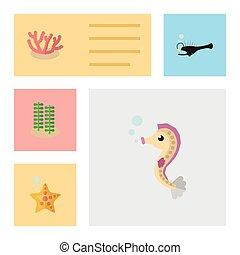 plano, icono, marina, conjunto, de, hipocampo, pez, estrella del mar, y, otro, vector, objects., también, incluye, spirulina, algas, coral, elements.