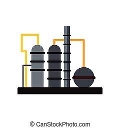 plano, icono, refinería, aceite