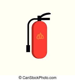 plano, icono, rojo, extintor