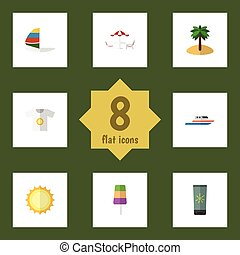 plano, icono, surf, conjunto, elements., barco, estación,...