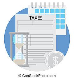 plano, icono, tiempo, impuestos, paga