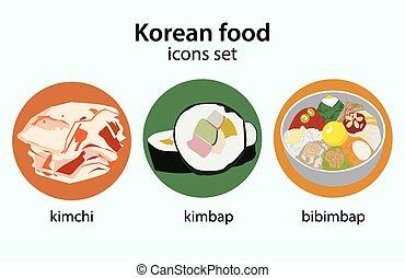 plano, iconos, alimento, set., diseño, coreano