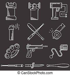 plano, iconos, autodefensa, colección, accesorio, vector,...