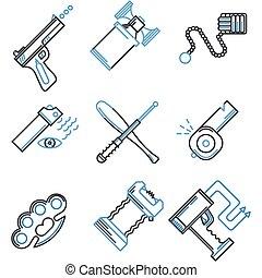 plano, iconos, autodefensa, colección, vector, línea