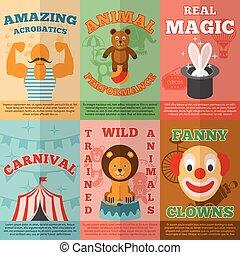 plano, iconos, circo, composición, cartel