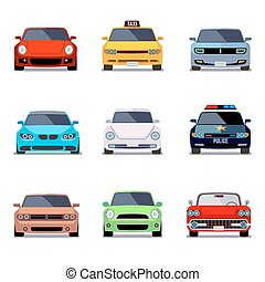 plano, iconos, coche, vector, vista delantera