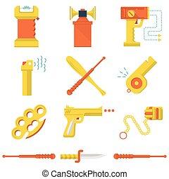 plano, iconos, color, autodefensa, colección, vector