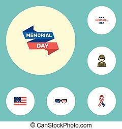 plano, iconos, conocimiento, cinta, lentes, y, otro, vector, elements., conjunto, de, día, plano, iconos, símbolos, también, incluye, cinta, norteamericano, militar, objects.