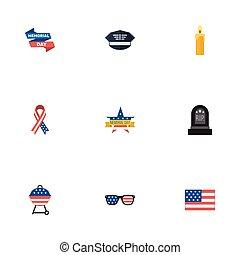plano, iconos, día conmemorativo, lentes, barbacoa, y, otro, vector, elements., conjunto, de, historia, plano, iconos, símbolos, también, incluye, bandera, rasgón, militar, objects.