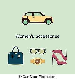 plano, iconos de concepto, accesorios, vector, diseño, moda