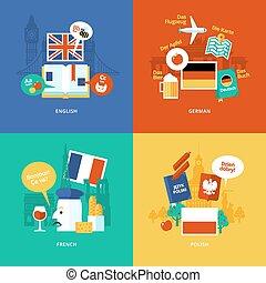 plano, iconos de concepto, extranjero, diseño determinado, languages.