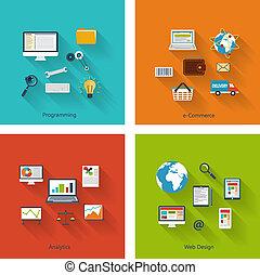 plano, iconos de concepto, moderno, colección, diseño