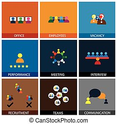 plano, iconos de la oficina, gente, vector, diseño