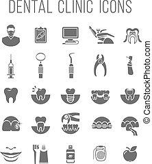 plano, iconos, dental, clínica, siluetas, servicios