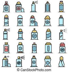 plano, iconos, desodorante
