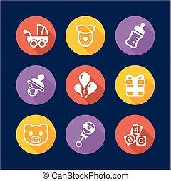plano, iconos, ducha, diseño, bebé, círculo