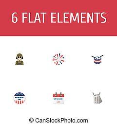 plano, iconos, historia, instrumento musical, estados unidos de américa, insignia, y, otro, vector, elements., conjunto, de, día, plano, iconos, símbolos, también, incluye, día, ejército, militar, objects.