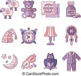 plano, iconos, ilustración, vector, tenga camas para el ...