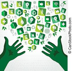 plano, iconos, ilustración, verde, manos, reciclar