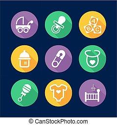 plano, iconos, llenar, diseño, bebé, círculo