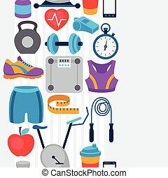 plano, iconos, patrón, seamless, deportes, condición física...