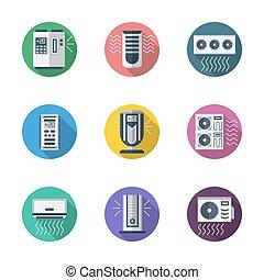 plano, iconos, sistema, aire, vector, condicionamiento, redondo